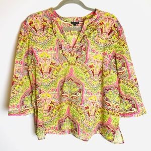 Talbots Pink Green Boho Print Cotton Tunic L